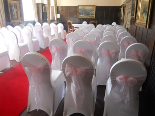 Whitwell Suite with pink organza sashes