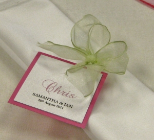 Name card - pink and green