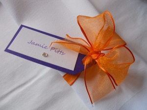 Name card - purple and burnt organge